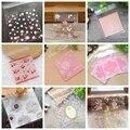 50 шт., пластиковые пакеты с милыми цветами и сердечками, самоклеящиеся пакеты для свадеб, дней рождения, выпечки, печенья, упаковочные принад...