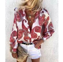 Women Autumn Vintage Floral Print Blouse Shirts New Elegant Deep Tops Office Lady Loose Casual