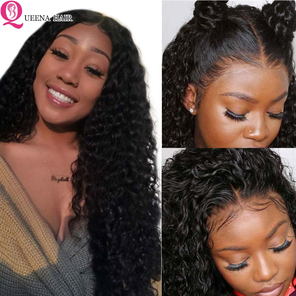 Curly Lace Closure Wig 13X4 Lace Front Human Hair Wigs For Black Women Peruvian Transparent Lace Frontal Closure Wigs 150% Remy