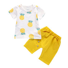 SAGACE Girls Tops Solid Short Pants Casual Toddler Baby Kids Boys Pineapple Tops Outfit Set children kids clothes Cotton(China)