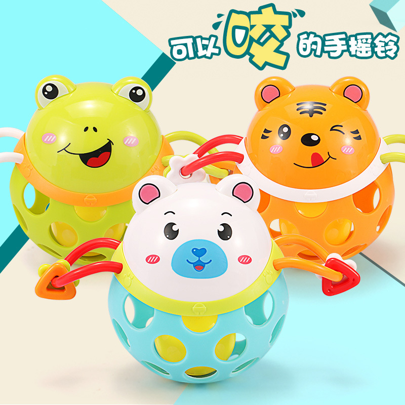 Rattle Toy Infant 0-1-Year-Old Baby Hand Carrying-Bite GIRL'S Set Men's Soft Silcone 3-6-12 Month