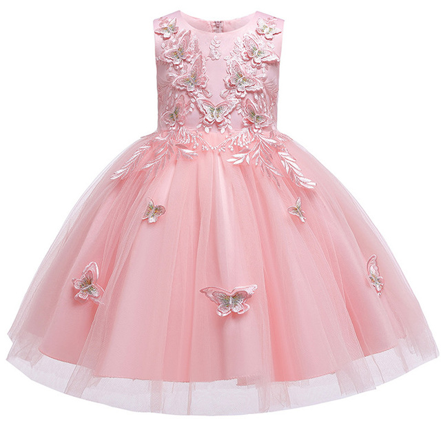 últimos Estilos 3 12 Años Niña Dulce Bordado Mariposa Encaje Vestido Princesa Para Niña Bebé Fiesta Cumpleaños Vestido Festivo
