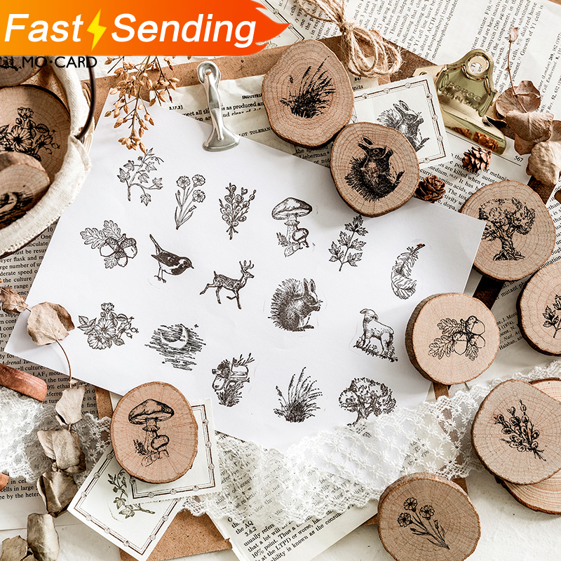 JIANWU 1pc Animal Forest Post Series Log Rubber Seal Cute Round Stamps Wood Clear Stamps For Scrapbooking DIY Bullet Journal