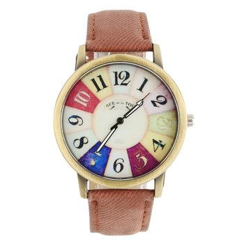 Colorful Dial Golden Round Shell Date Quartz Wrist Watch Analog Chic with Black/White/Red/Brown/Yellow/Pink/Green/Blue color image