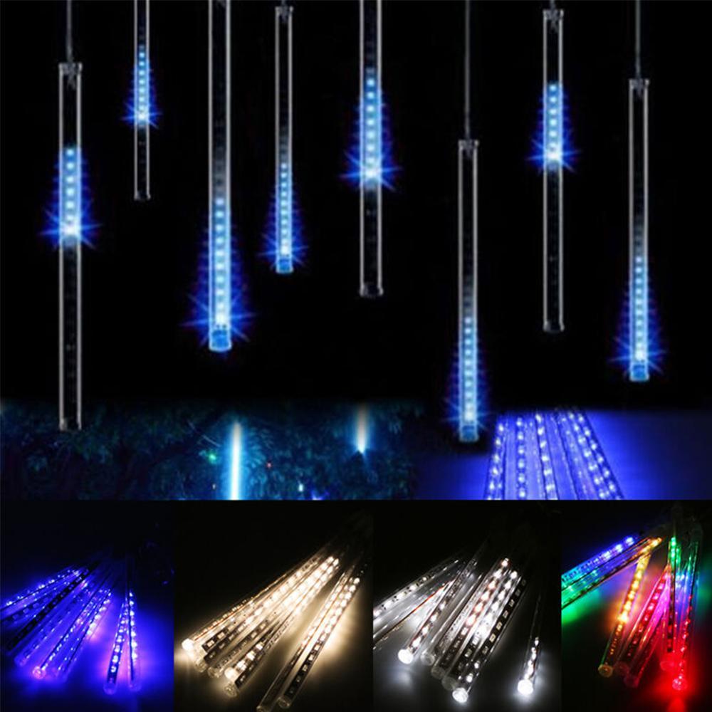 30cm 192 LED Lights Meteor Shower Rain Effect Outdoor Light 8 Tube Xmas Snowfall Tree Decor Christmas Holiday Light