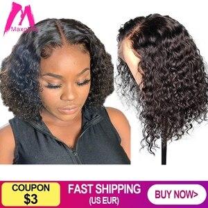 Image 2 - Kręcone peruka z krótkim bobem koronki przodu peruki z ludzkich włosów brazylijski prosto naturalne krótkie głębokie falowane włosy typu Remy wstępnie oskubane dla czarnych kobiet