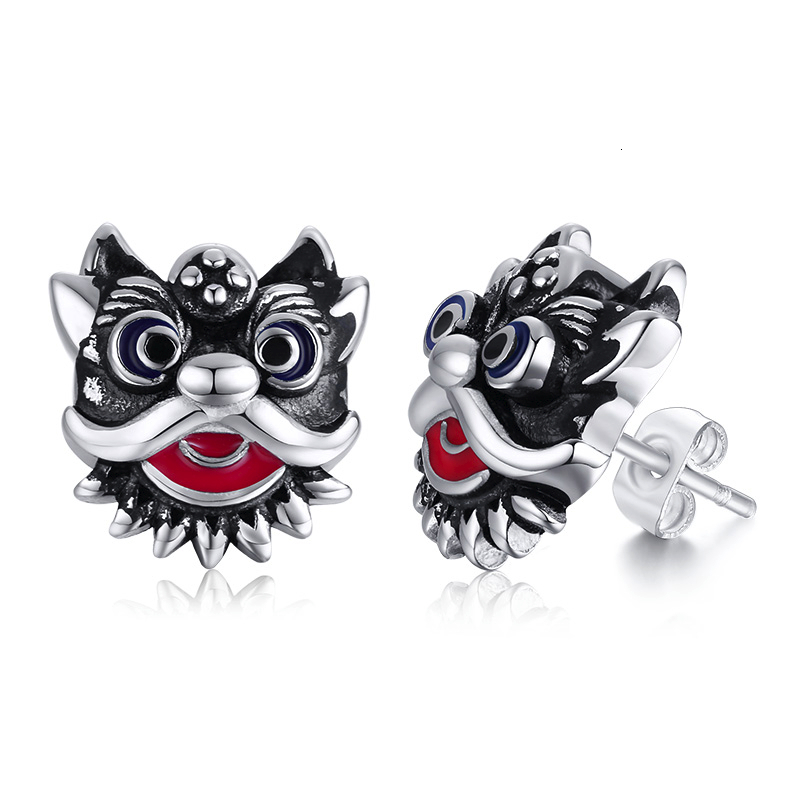 CHINESE LION DANCE STUD <font><b>EARRINGS</b></font> <font><b>FOR</b></font> <font><b>MEN</b></font> TIGER MASCOT STAINLESS STEEL <font><b>UNISEX</b></font> JEWELRY image