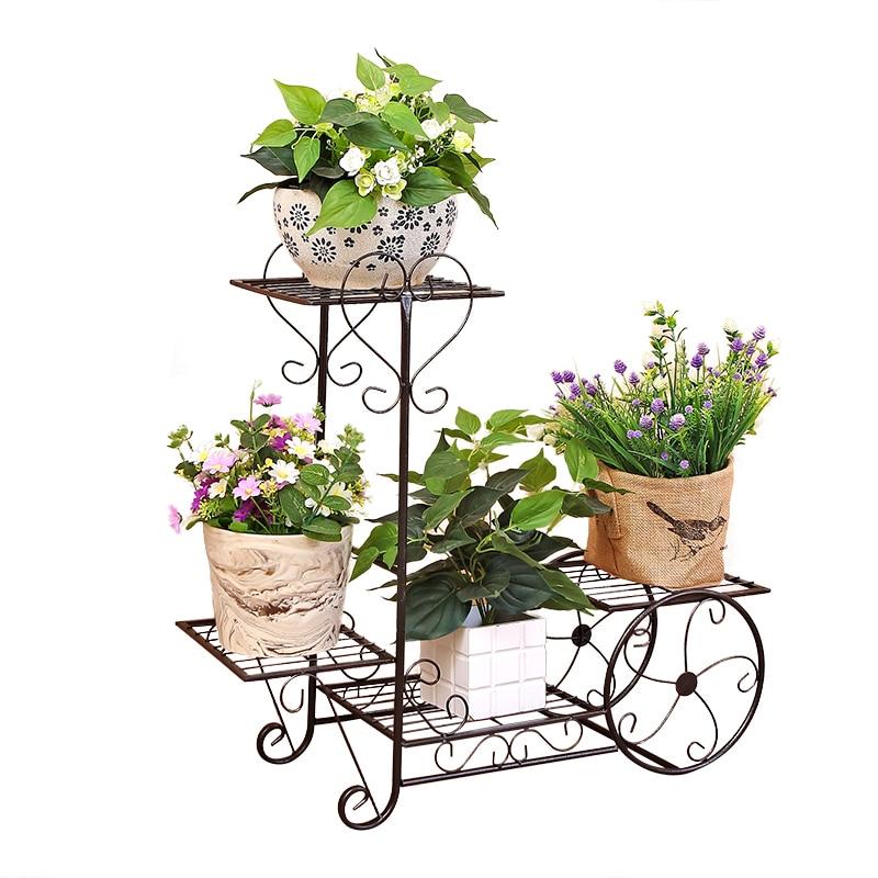 European new wrought iron flower shelf rack home floor-style living room green flower pot shelf multi-layer indoor flower stand