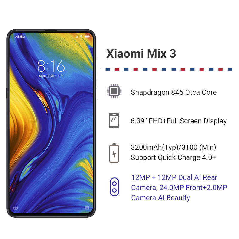 Globale Rom Xiao Mi Mi Mi X 3 8 Gb di Ram 256 Gb di Rom Snapdragon 845 Octa Core 24MP 6.39 a Schermo Intero Qi Wireless di Ricarica Del Cellulare - 2