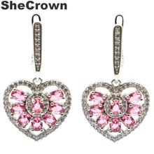 Beautiful Pink Tourmaline, White CZ Ladies Woman's 925 Black Gold Silver Earrings 42x24mm