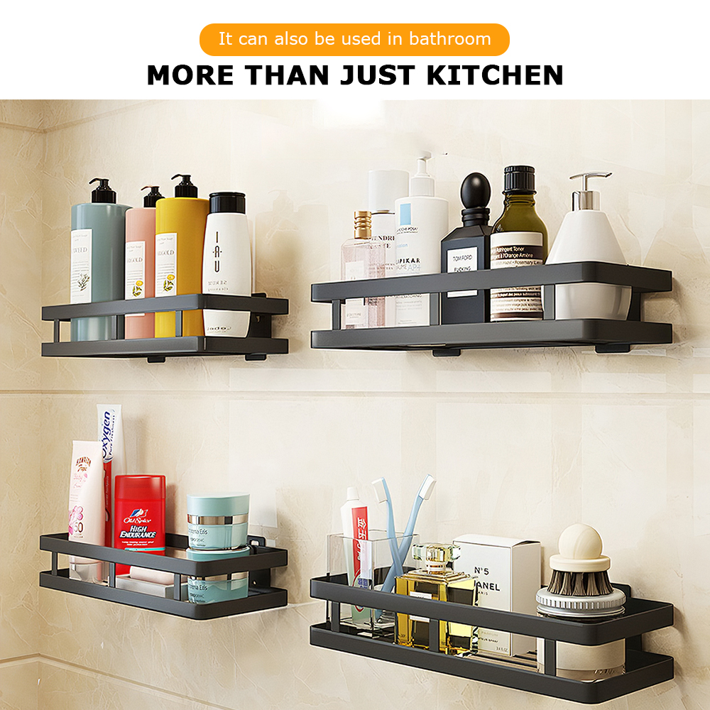 Spice Rack Single-Layer Black Stainless Steel Wall Mounted Kitchen Rack for Pantry Condiment Spice 20*10CM Bathroom Organizer
