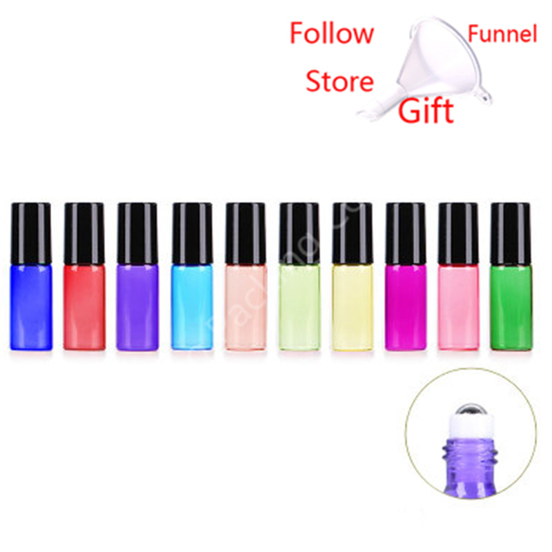 Image 2 - 10pcs/lot 5 ml Candy colored Glass Oil Bottles with Roller Ball Empty Perfume Essential Oil Roll on BottleRefillable Bottles   -