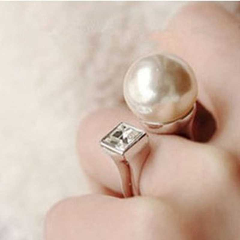 Римское кольцо с большой жемчужиной Стразы квадратные Регулируемые кольца циркон для женщин и девочек подарок на Рождество