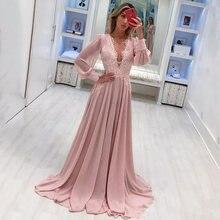 Элегантное шифоновое платье для выпускного вечера с глубоким