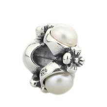 Authentieke 925 Sterling Zilver Vintage Bloemen Triple Pearl Charm Bead Fit Europese troll Armband Sieraden(China)