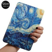 Qijun Case for iPad Air 1 2, Smart sleep Wake Bag For ipad 5 6 2017 2018,Painted PU Leather Stand Cover Air2 Air1 Cases