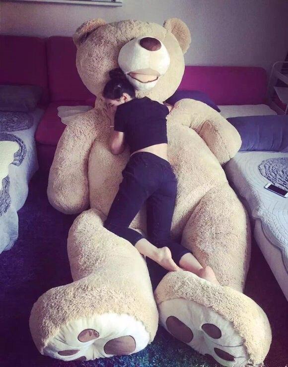 [Engraçado] 130cm américa urso de pelúcia animal de pelúcia urso de pelúcia capa de almofada de boneca de brinquedo macio (sem coisas) crianças bebê presente adulto