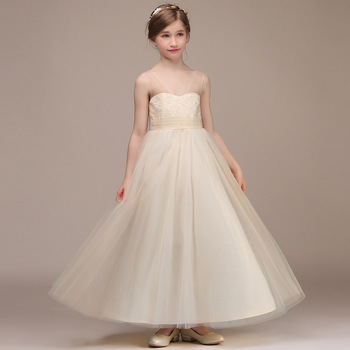 Champagne Kids Girl Formal Party Dress Long Tulle Communion Princess Gowns Flower Girl Dresses For Wedding Birthday modern ballgown champagne flower girl dresses for wedding tulle birthday party dress formal party evening dress