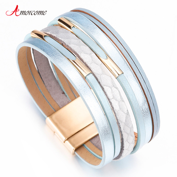 Amorcome Brass Charm Leather Bracelets for Women  Bracelets & Bangles Wide Wrap Boho Multilayer Bracelet Femme Jewelry amorcome metal feather genuine leather bracelet for women jewelry fashion multilayer bohemian charm wide bracelets