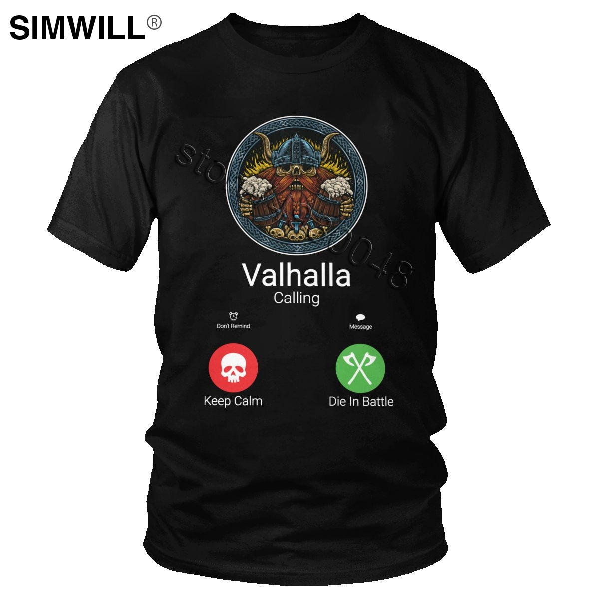 Novelty Men's Cotton Funny Valhalla Is Calling Shirt Short Sleeve Viking Odin Graphic T Shirt Streetwear Summer T-shirt Gift Tee