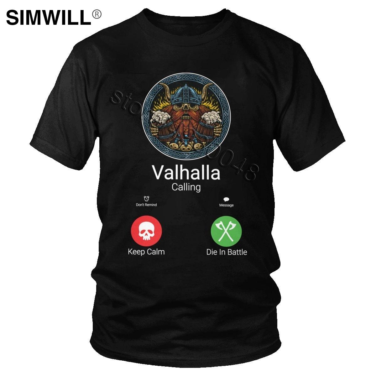Novelty Men's Cotton Funny Valhalla Is Calling Shirt Short Sleeve Viking Odin Graphic T Shirt Streetwear Summer T-shirt Gift Tee
