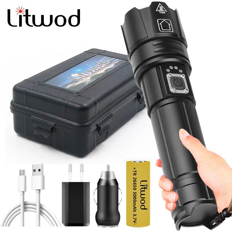 XHP70.2 puissant lampe de poche Led USB Rechargeable 18650 batterie batterie batterie Flash lumière torche aluminium Zoomable étanche lanterne