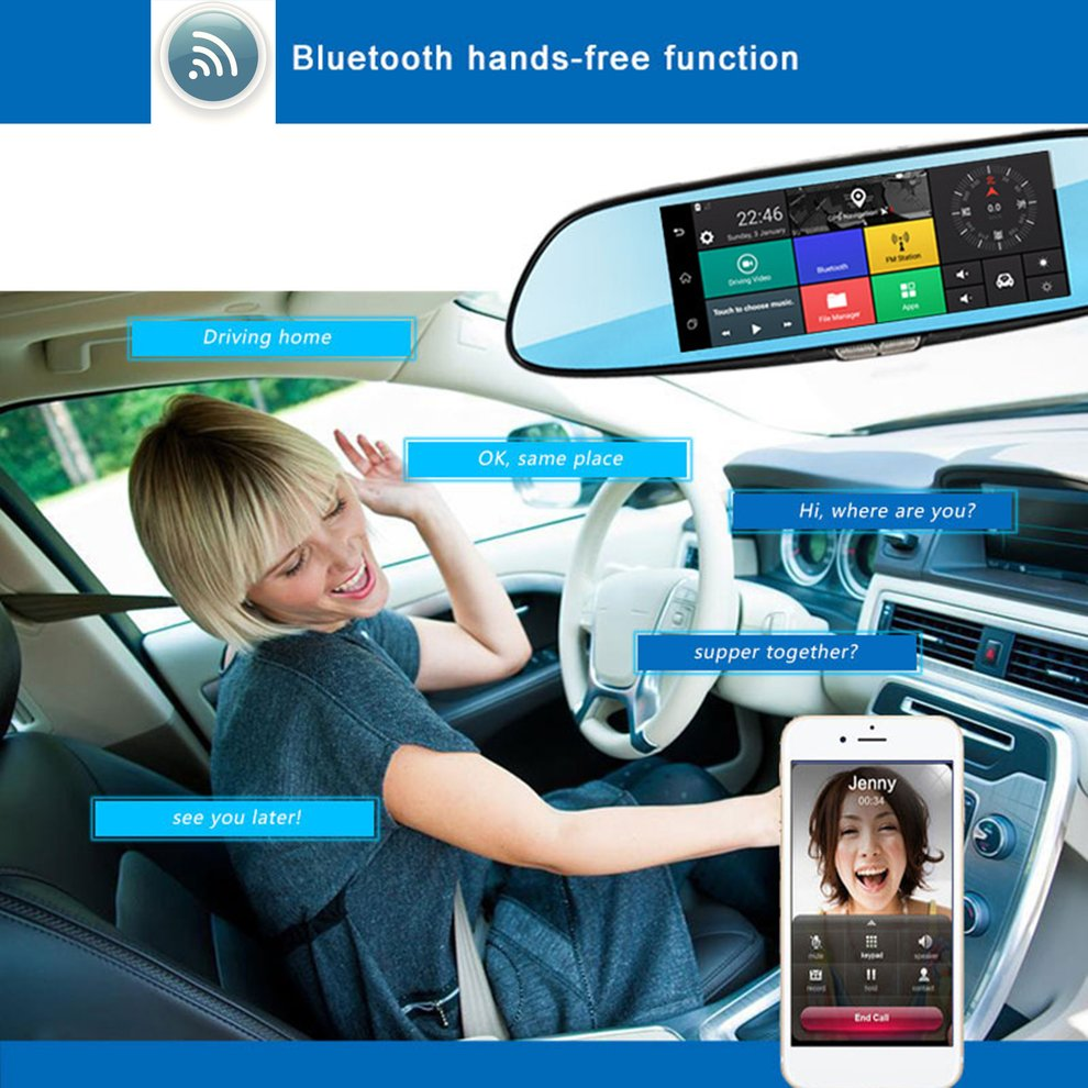 H10 Car DVR 3G Rearview Mirror Video Recorder 7 inch Touch Screen 1080 FHD Dual Camera Hand free FM Transmission - 2