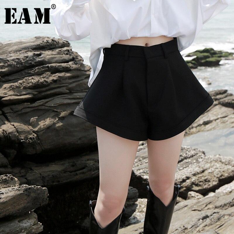 [EAM] Women Black Brief Wide Leg Shorts New High Waist Loose Fit  Trousers Fashion Tide All-match Spring Autumn 2020 1H066