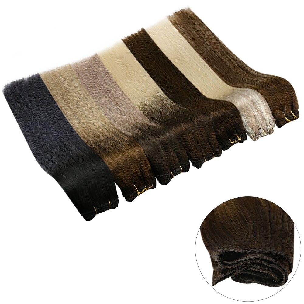 Máquina da extensão da trama do cabelo de ugeat remy cabelo humano 14-24 polegada 100g natural em linha reta trama do cabelo humano real tecelagem