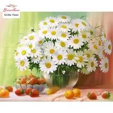 2020 nova diy pintura diamante ponto cruz margaridas brancas bordados de cristal floral decoração para casa