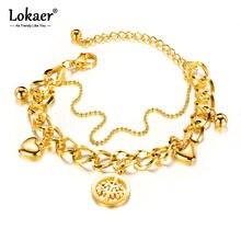 Lokaer na moda dupla camada de aço inoxidável amor coração & árvore charme pulseiras para meninas bohemia corrente ligação jóias b17088