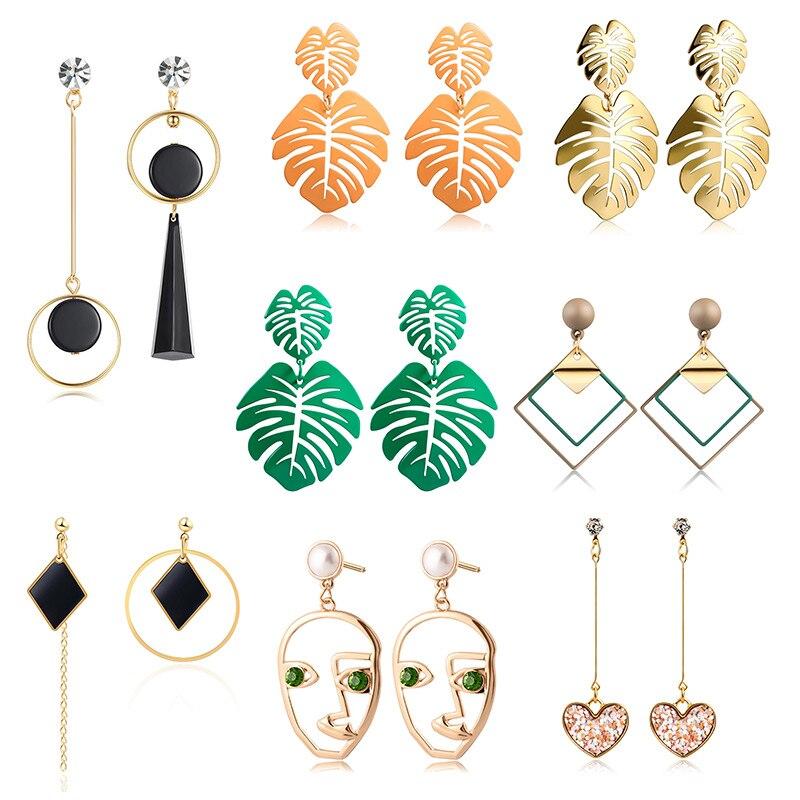 X P New Korean Heart Statement Drop Earrings 2019 for Women Fashion Vintage Geometric Acrylic Dangle