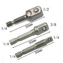 3pcs set Chrome Vanadium Steel Socket Adapter Hex Shank to 1/4″ 3/8″ 1/2″ Extension Drill Bits Bar Hex Bit Set Power Tools