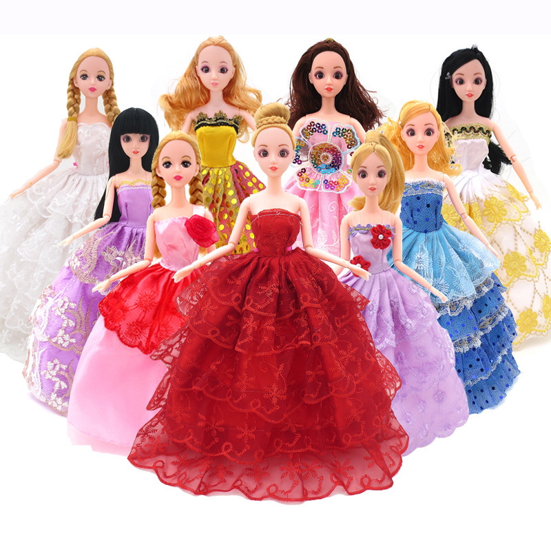 Doll Clothes Baby Doll Accessories 30cm Bjd Doll Clothes Handmade Wedding Dress Princess Party Gown Skirt Gifts For Girl DIY Toy