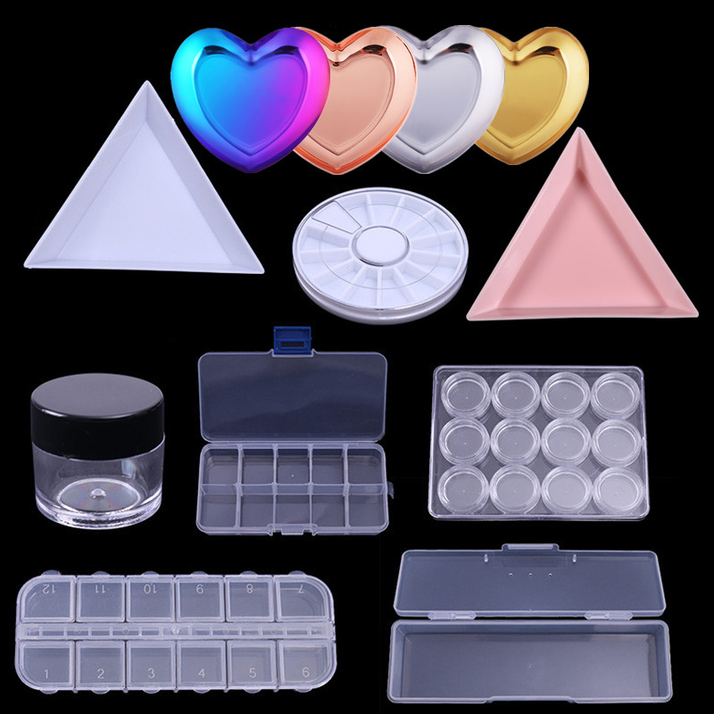 Nail Art Storage Case Rhinestones Gems Accessories Clear Plastic Metal Empty Container For Rhinestones Beads Organizer Box
