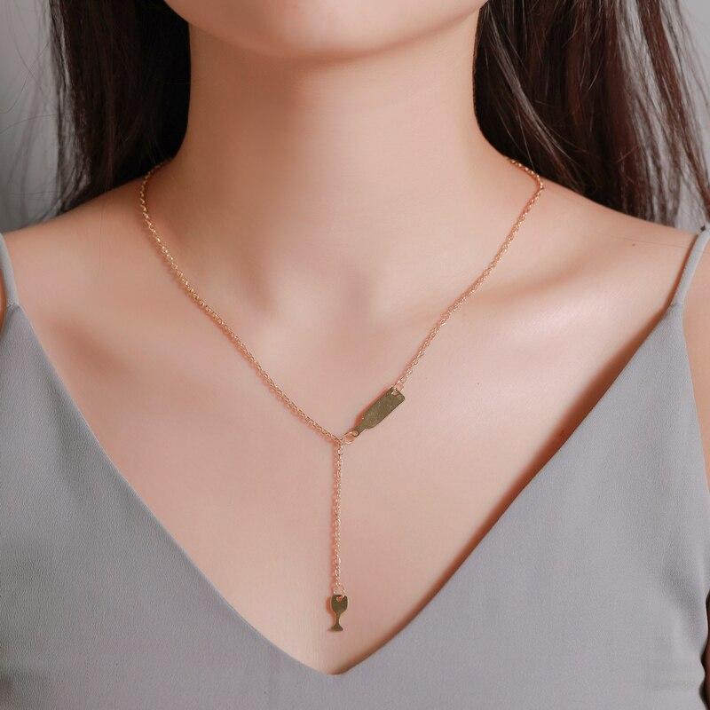 Лидер продаж, простое ожерелье JUMPLIM, модное креативное ожерелье в виде бокала вина, женское длинное однослойное Подарочное цепочка на свите...