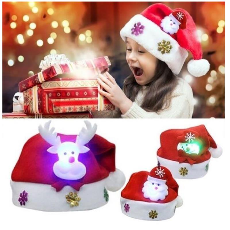 Kids /& Adults LED Christmas Hat Santa Claus Elk Snowman Xmas Gift Red Cap Hats