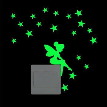 1 Uds. Adhesivo para interruptor de pared luminoso hogar pegatina de conmutador luminosa decoración del hogar dibujos animados brillantes pegatinas de pared decoración brillante oscura