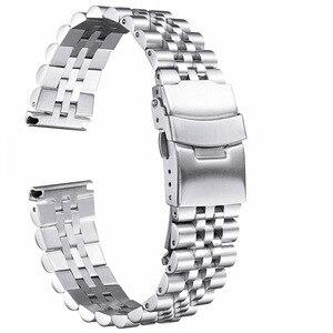 Image 3 - Pulseira de aço inoxidável brilhante de seda 18mm 20mm 22mm 23mm 24mm 26mm pulseira de relógio duplo bloqueio fivela de substituição pulseira de relógio com ferramenta
