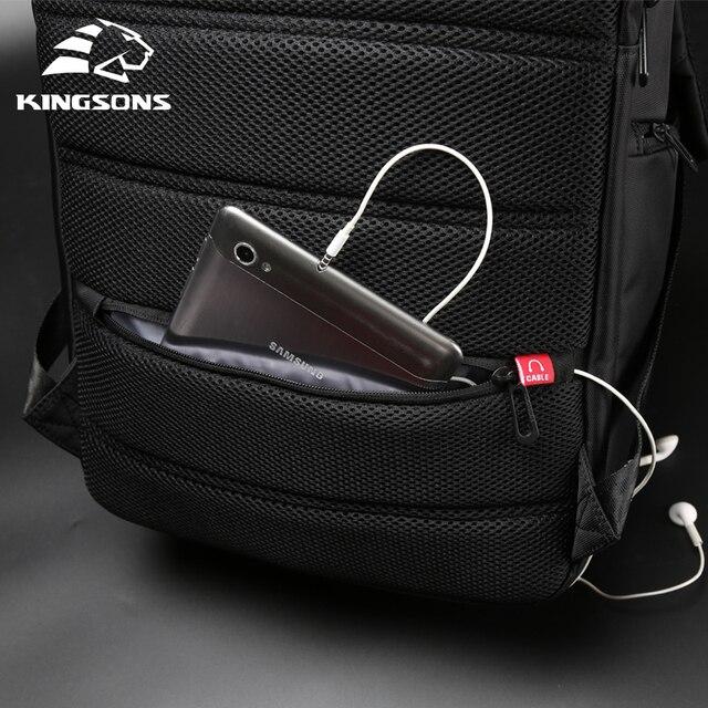 "Kingsons 15""17""  Laptop Backpack External USB Charge Computer Backpacks Anti-theft Waterproof Bags for Men Women 6"