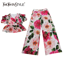 TWOTWINSTYLE Temperament Print Two Piece Set For Women V Neck Puff Sleeve Blouse High Waist Wide Leg Pants Hit Color Sets Female