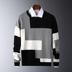 Hommes chandails minces coton à manches longues col rond mâle chaud pulls hommes pull décontracté Fit tricoté Patchwork couleur 2020 nouveau