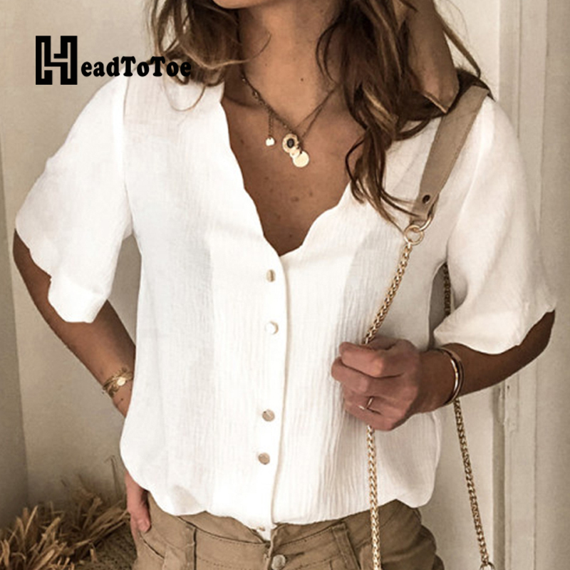 Solid V Neck Buttoned Short Sleeve Casual Summer Blouse Tops For Women