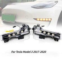Für Tesla Modell 3 2018 2019 2020 2021 DRL 12V Auto Lichter LED Tagfahrlicht Light Nebel Licht fließende Blinker Montage