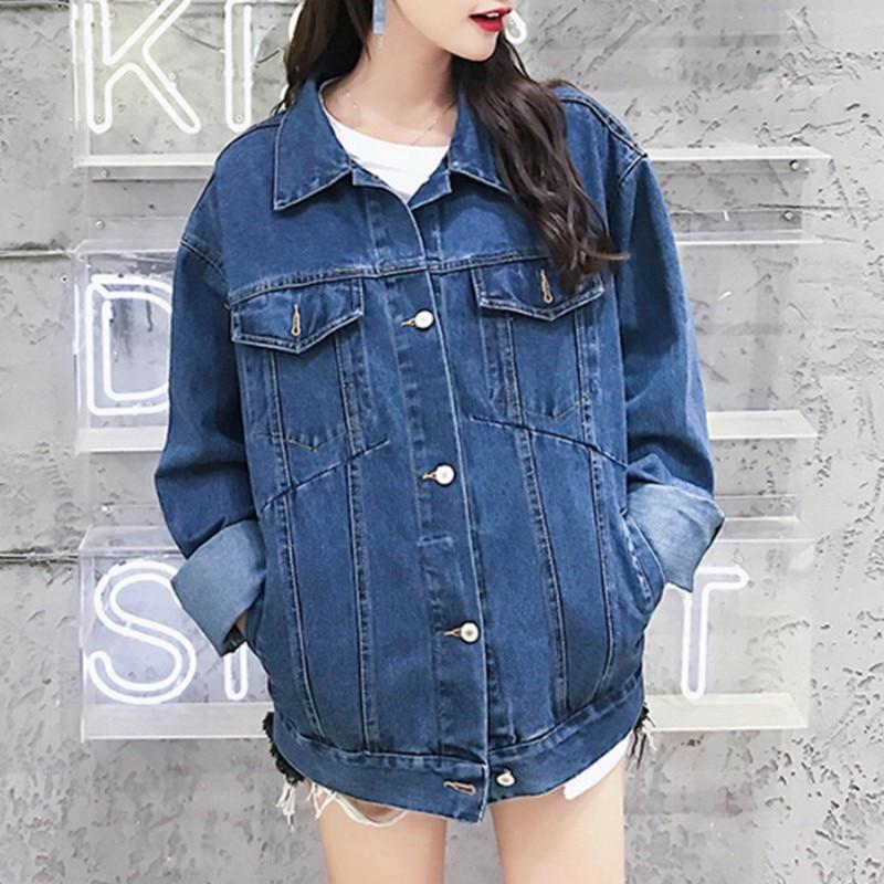 Oversized Female Jacket Loose Coat Long Sleeve Womens Denim Vintage Autumn Women Casual Jeans