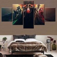 5 قطع من ملصقات مصّاص دماء شيطان وفريد من Ainz Ooal لتزيين الجدران من القماش بصور أنيمي أفرلورد مطبوعة بجودة عالية لوحة فنية لوحدات