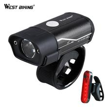 WEST BIKING Bicycle Light T6 L2 LED Bike Headlight Taillight Kit USB Rechargeable Battery Flashlight Cycling Torch Lamp