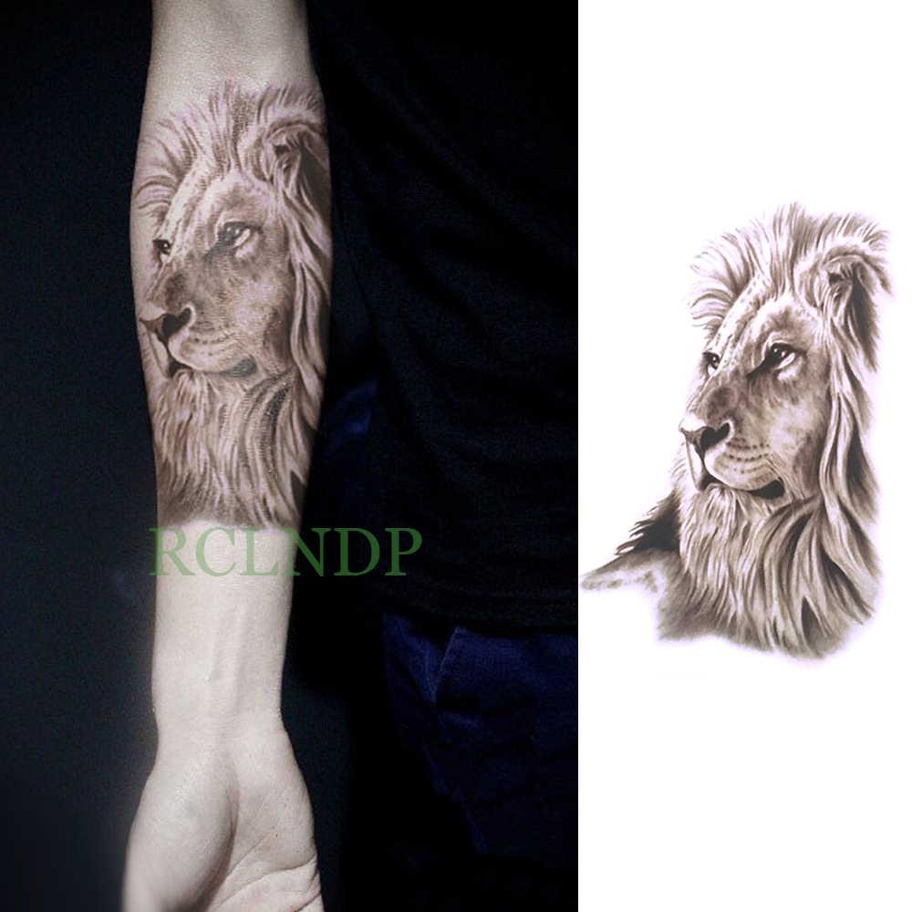 Pegatina de tatuaje temporal a prueba de agua tatuaje falso de León, tatuaje Flash para espalda y piernas, brazo, pecho, pie, arte corporal de gran tamaño para mujer, hombre y Niña