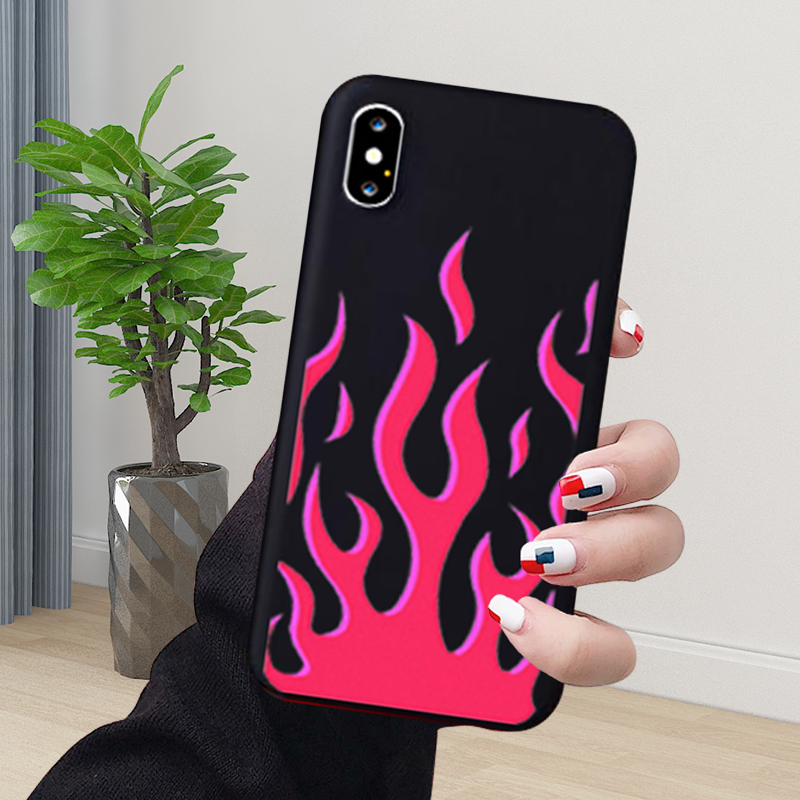 Artistic Personality Flame Pattern Phone Case for iPhone 6 6S 7 8 Plus X Xr Xs Max 11 Pro Max Soft Silicone Phone Cover Shell-Flame Mint-for iPhone 6 6S