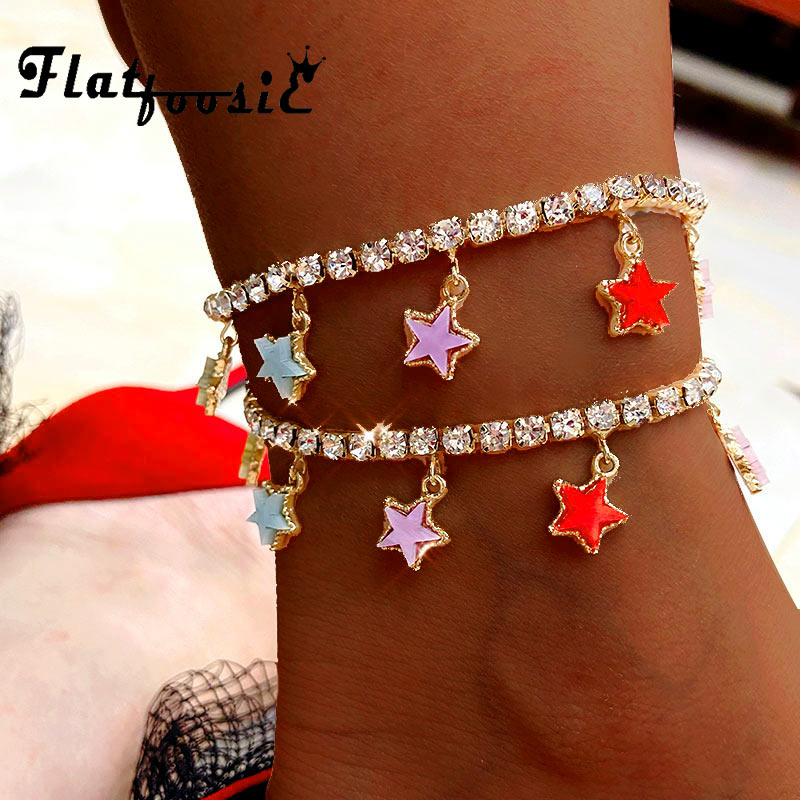 Flatfoosie New Fashion Multicolor Stars Anklets Bracelets For Women Bling Crystal Chain Butterfly Anklets Summer Foot Jewelry
